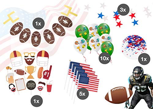 TK Gruppe Timo Klingler XXL Super Bowl American Football Dekoration Deko Set über 100 Teile, Luftballons, Girlande, Konfetti UVM. (Set XXL)
