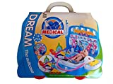 #3: Techhark Doctor's Kit Pretend Play Toy Set with Multiple Playing Accessories for Kids (Blue with Tyre)