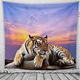 WLHW Tapices Tapicería de Pared Nórdico Americang Animal Tigre de Poliéster Chal Estilos Paño Colgante de Arte Tapiz de Pared Tapiz Decoración Mural Toalla de Playa (Color : D, Tamaño : 150x130cm)