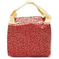 Preisvergleich für Yudanwin Leinwand-Lunch-Tasche Creative Brief Square Kühltasche Lunch Bag (rot)