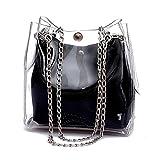TOOGOO Donne piccolo secchio di plastica Borse Catena trasparente Totes composito femminile del sacchetto Mini Jelly Borse Nero