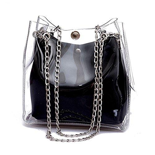 REFURBISHHOUSE R Frauen Kleine Eimer Taschen Kunststoff Transparent Totes Verbundkette Tasche Weibliche Mini Gelee Handtaschen Schwarz -