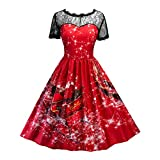 Luckycat Damen Swing Kleid Weihnachten Print Lace Yoke Kurzarm Abend Party Kleid Abendkleider Cocktailkleid Partykleider Blusenkleid Mode 2018