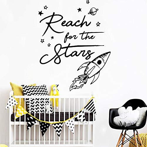 BFMBCH Rocket Star Family Wandaufkleber Artist Residence Dekoration Heimtextilien Kinderzimmer Vinyl Art Wandaufkleber Silber XL 57cm X 61cm
