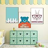 adgkitb canvas Quadri Decorativi Immagini su Tela Stampe e Poster Simpatici Animali dei Cartoni Animati Pittura a Olio su Tela per Decorazione murale 58x90cmx3 No Cornice