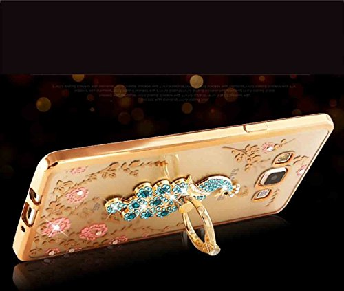 iPhone X Diamond Ring Movie Stand Cover, Shiny Sweet Love Heart 360° Rotating Kickstand Clear Garden Flower Soft TPU Custodia, TAITOU Plating Bumper Phone Cover For Apple iPhone X RoseGold Peacock-SeaBlue