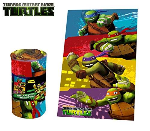 Media wave store tn16004 coperta plaid calda e morbida teenage ninja turtles 100x150 cm plaid