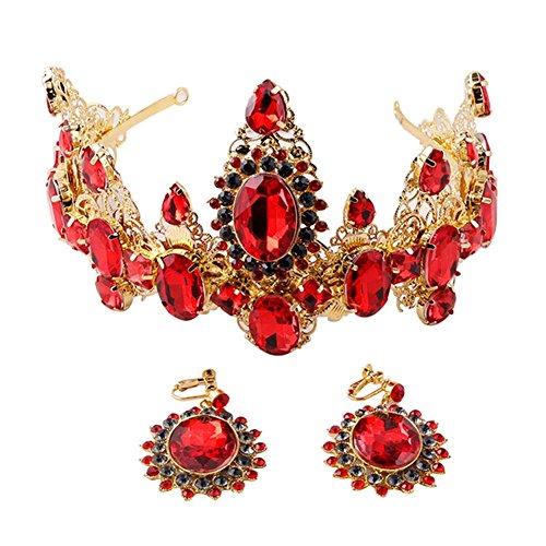 Style rétro strass et plaqué or Alloy Bride Couronne de mariage avec anneau d'or