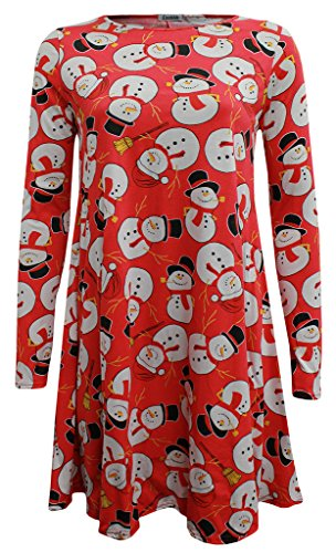 Mode 4 Moins Neuf Femme Grande Taille Manche Longue Noël Swing Robe. ROYAUME-UNI 8-26 Red Snowman