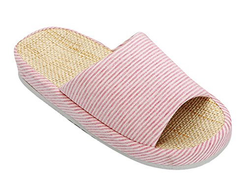 bronze-times-tm-unisex-classic-zebra-stripe-indoor-cotton-flax-house-slippers-c-pink-size-uk-4-55-eu