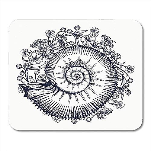 Computer Matte,Ammoniten Und Nouveau Blumen Tattoo Symbol Der Wissenschaft Paläontologie Geschichte Biologie Goldener Schnitt Mauspad, 25Cmx30Cm