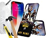 Sony Xperia XZ Premium FORTNITE PERSONALSED PRINTED DESIGN CASE, Choose Iniatals, Name, Any Word, Create Your Own, Unique Custom Cool Design Protective Hard back Slim Thin Fit PC Bumper Case with 9H Hardness Screen Protector Tempered Glass for r for Sony Xperia XZ Premium - FORTNITE PERSONALSED, Battle Royale Design 001