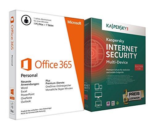 Microsoft Office 365 Personal + Kaspersky Internet Security Multi-Device 2PCs - 365-microsoft Personal Office