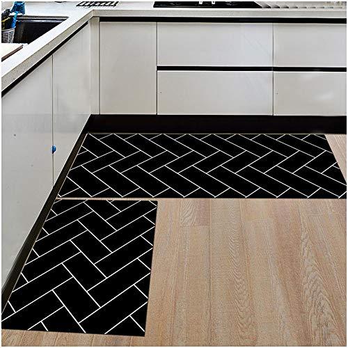 TSWCBYY Fußmatte, Haushalt Küche Wasserdicht Teppich rutschfeste Matte, Polyesterfaser/Größe Muster Optional (2 PCS),B,40 * 60+40 * 120cm - Möbel-drop Zieht