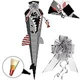 alles-meine GmbH BASTELSET - 3D Effekt - Schultüte -  Fisch - Hai Happen - Fische  - inkl. Schleife + Name - 85 cm - mit Holzspitze - Filzabschluß - Zuckertüte - incl. Rohli..