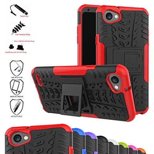 mama mouth lg q6 / q6 plus/lg g6 mini custodia, duro shock proof copertura rugged heavy duty antiurto in piedi custodia caso case per lg q6 / q6 plus/lg g6 mini smartphone,rosso