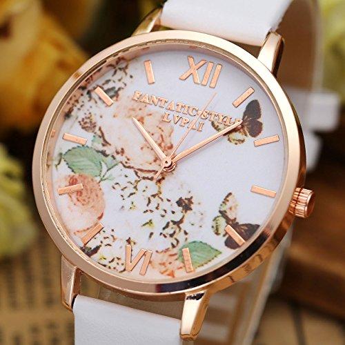 JSDDE Uhren,3er Set Vintage Blumen Armbanduhr Basel-Stil Damen Uhr Weiss PU Lederarmband Rosegold Analog Quarzuhr - 3