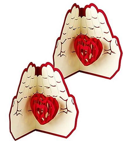 ACMEDE - 3D Carte de Voeux Pop-up En Papier Pliable Forme de Coeur Pour Anniversaire Mariage Saint Valentin Amoureux Jour d'Action de Grâce Noël Greeting Cards (2 Pcs)