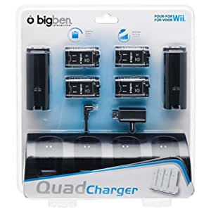 BigBen Interactive KIT 4 Batteries + Black Charger Pack d'Accessoires Console compatible:Nintendo Wii