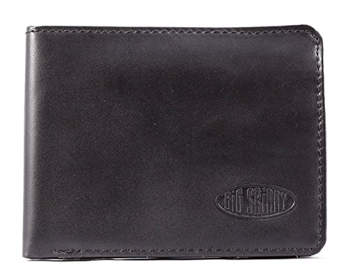 Big Skinny RFID-blockierender Passcase Leder Slim Wallet, hält bis zu 30Karten, schwarz (Geldbörse Passcase Id Herren)