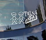 Twins On Board???Baby, zwei Jungen Baby, Sweet Girl, Frisur Heart Kids Auto Aufkleber Drift Bumper Window Auto Funny Vinyl Van Laptop Love Herz Decor Home Live Kids Funny Art Wand Aufkleber Aufkleber