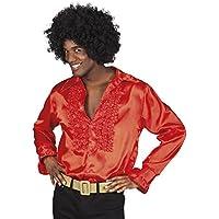 shoperama - Camicia da uomo anni  70 con ruches e scritta Disco  Schlagermove Bad Taste 4dcec1976e30