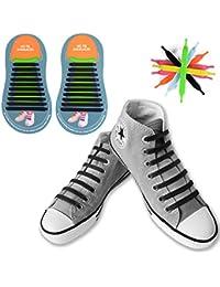 [20 Piezas] No Tie Cordones de Zapatos, Canwn Impermeables Cordones Elásticos para Zapatillas para Adultos Atletismo Atlética de Silicona Elástico Cordones con Multicolor de los Zapatos del Tablero Sneaker Boots(Negro)