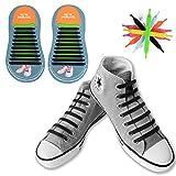 No Tie Schnürsenkel,Canwn Flache Elastische Schnürsenkel für Kinder und Erwachsene Wasserdichte Silikon Sportlauf Schnürsenkel mit Multicolor für Sneaker Stiefel Brettschuhe und Freizeitschuhe