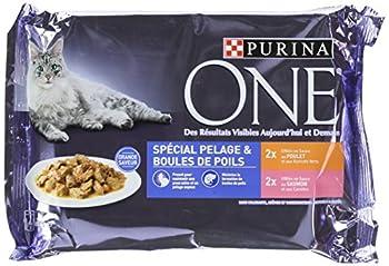 Purina One SPÉCIAL PELAGE & BOULES DE POILS Effilés en Sauce au POULET et SAUMON - 4x85G Sachets Fraîcheur pour Chats Adultes - Lot de 12