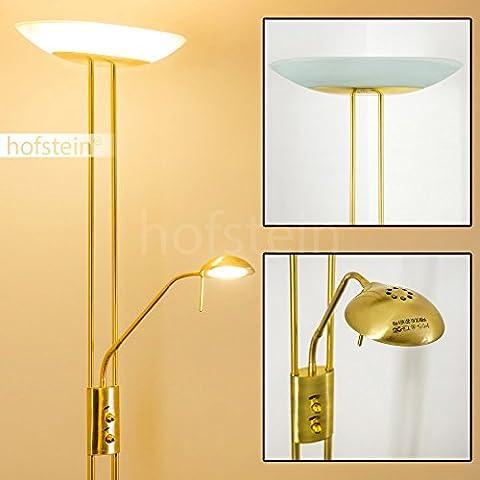Luminaire LED Lucca doté de deux variateurs d'intensité indépendants - Lampadaire de salon finition laiton avec vasque en verre ovale - Teinte de lumière blanc chaud
