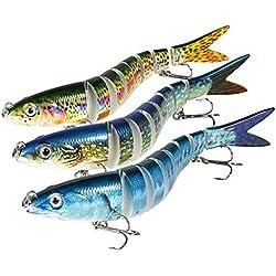 Magreel Leurre Pêche Mer Multi Articulé, Leurre Truite Kit de Pêche au Leurre à Décélération Lente pour Truite, Brochet, Perche et Plus - Lot de 3