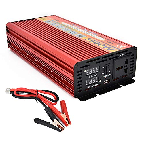 CAPTIANKN 3500W Automotive Power Inverter, DC 12V/24V to AC 110V/220V Solar Converter with Display, 1 Universal Socket und 1 USB Port,24vto220v 3500w Power Inverter