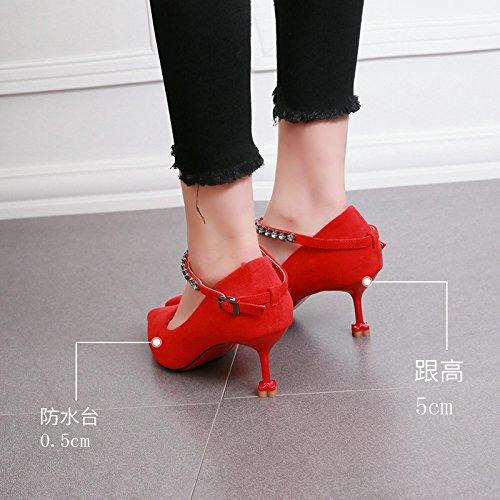 KHSKX-Autunno Pelle Sottile Tacco Scarpe Con Tacchi Affilati Fibbia Acqua Esercitazione Gatto Scarpe Con Tacchi Tacco Tragitto Superficiale Bocca Eleganti Scarpe 37 Gules Thirty-four