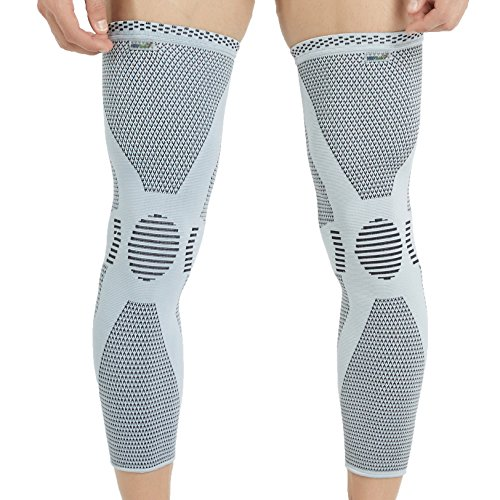 Neotech-Care-Leg-and-Knee-Support-Sleeve-Bamboo-Fiber-Knitted-Fabric-Elastic-Breathable-Medium-Compression-Size-L-Grey-Color-Package-of-1-Unit