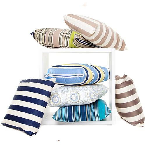 2 Pack Oasis Multi Colour Stripes Outdoor Waterproof Garden Scatter Cushion 1
