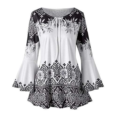327b351084a Lazzboy Shirt Top Women Boho Ethnic Lace-up Neck Long Flare Sleeve Tunic UK  6