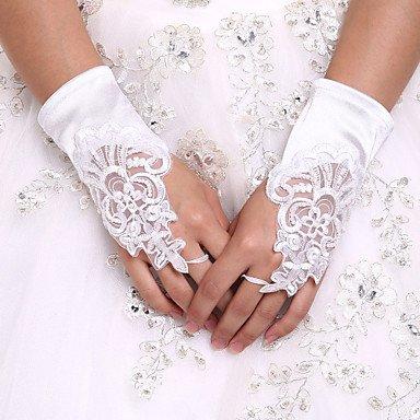 Zormey DIY Perles et strass Blanc avec Mitaines en dentelle Gants en satin longueur poignet pour mariage Gloveswedding événements Accessoires