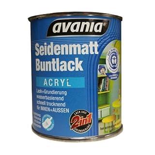 Avania Seidenmatt Buntlack / Acryllack / weiß / 750 ml / 2 in 1 Lack u. Grundierung / Malerqualität für Holz, Putz,Beton, Mauerwerk, Kunststoff,Eisen, Stahl, Metall,Zink, Aluminium, Kupfer