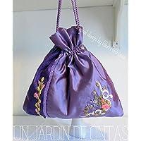 Bolso tipo saco en seda dupion bordado con cintas