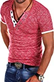 MT Styles V-Neck Buttons T-Shirt Polo BS-544 [red, M]