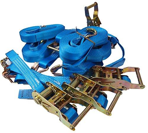 2 Stück Riemen (5 Stück 2-tlg Spanngurte mit Profiratsche 500/1000 dan En Norm (6 meter, blau))