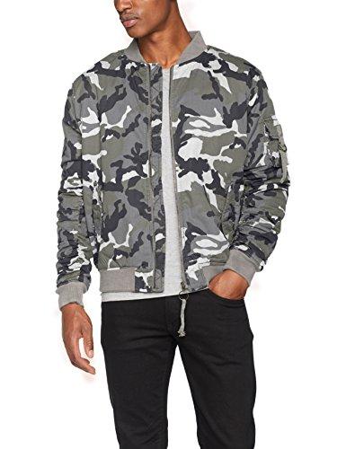 Urban Classics Herren Jacke Vintage Camo Cotton Bomber Jacket, Mehrfarbig (Snow Camo 787), Medium