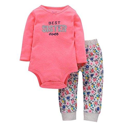 Kragen Twin-set (Mädchen Beschriftung Spielanzug Jumpsuit + Blumenhose Set Hirolan Baby Kinder Neugeboren Kleider Mode O-Kragen Lange Hülse Outfits (18m, Rot))