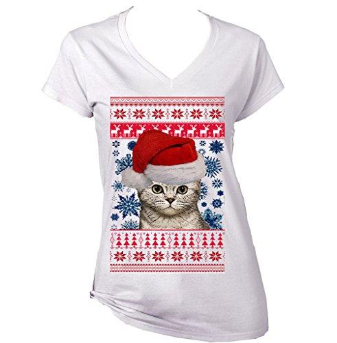 Teesquare1st Women's CAT SANTA 3 CHRISTMAS White T-Shirt Size Large