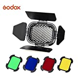 Godox BD-07 Barn Door with Detachable Honeycomb Grid and 4 Color Filters for AD200 Pocket Speedlite Fresnel Flash Head