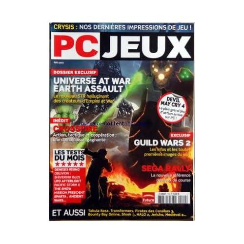 PC JEUX [No 110] du 01/05/2007 - CRYSIS - NOS DERNIERES IMPRESSIONS DE JEU - UNIVERSE AT WAR EARTH ASSAULT - CROSSFIRE - LES TESTS - GUILD WARS 2 - SEGA RAILLY