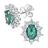 Naava Women's 18 ct White Gold 0.50 ct Round Brilliant Cut Diamond Oval Emerald Earrings