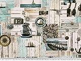 Zanderino ab 1m: Maritimer Dekostoff, Digitaldruck, Mehrfarbig, 140cm breit