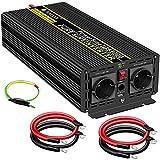 3000W KFZ Reiner Sinus Spannungswandler - Auto Wechselrichter 24v auf 230v Umwandler - Inverter Konverter mit 2 EU Steckdose und USB-Port - Spitzenleistung 6000 Watt
