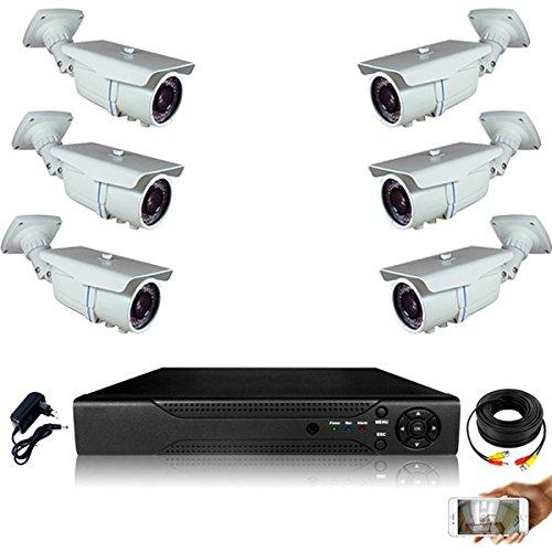 Kit-videovigilancia-6-Cmaras-tubos-Full-AHD-Sony-960p-13-mp--4000-GB-5-cable-de-40-M-1-x-20-m-pantalla-19